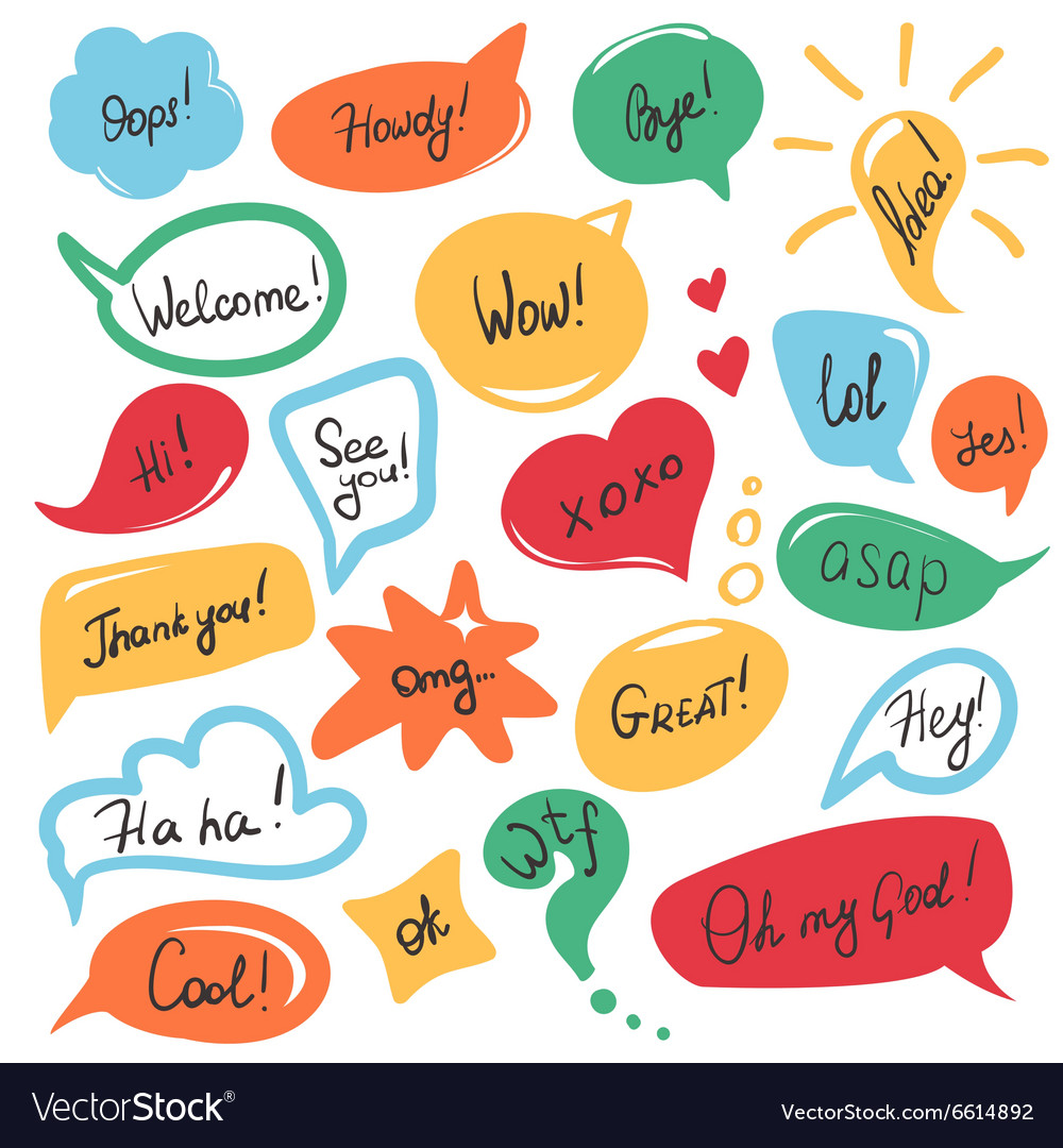 Hand drawn speech bubbles set in flat design with vector image