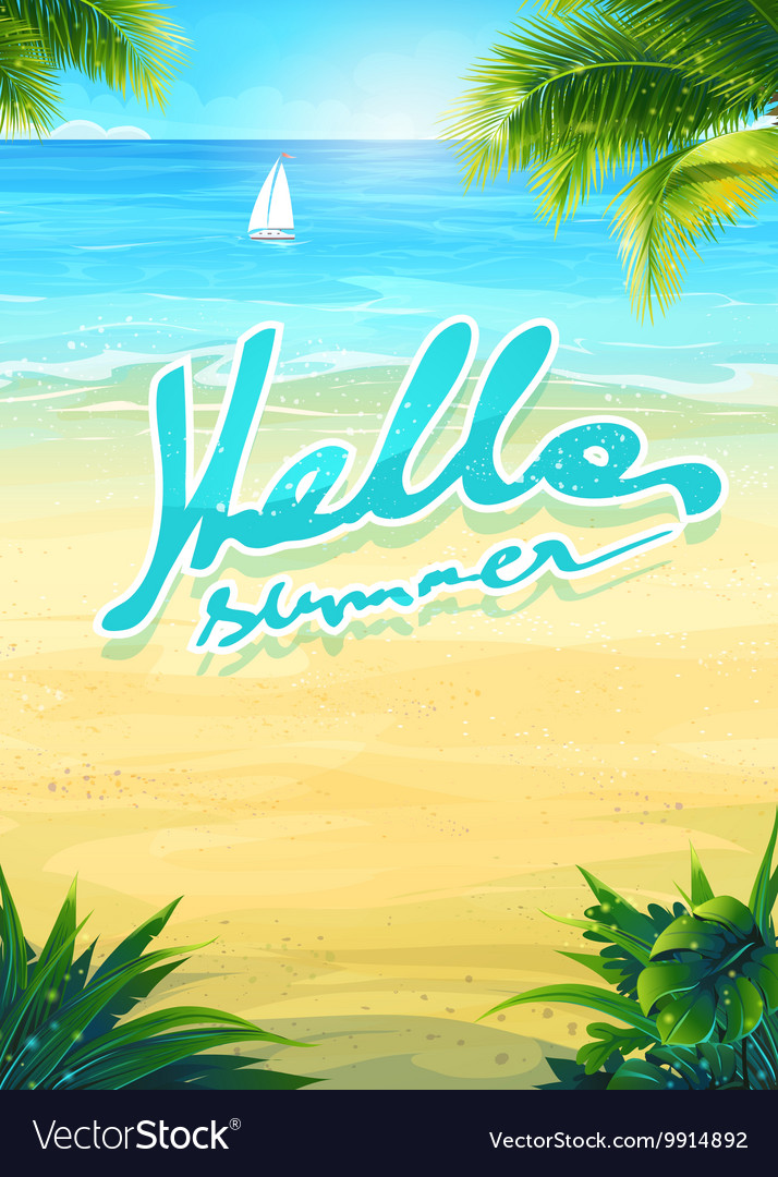 Hello summer - beach and sea boat