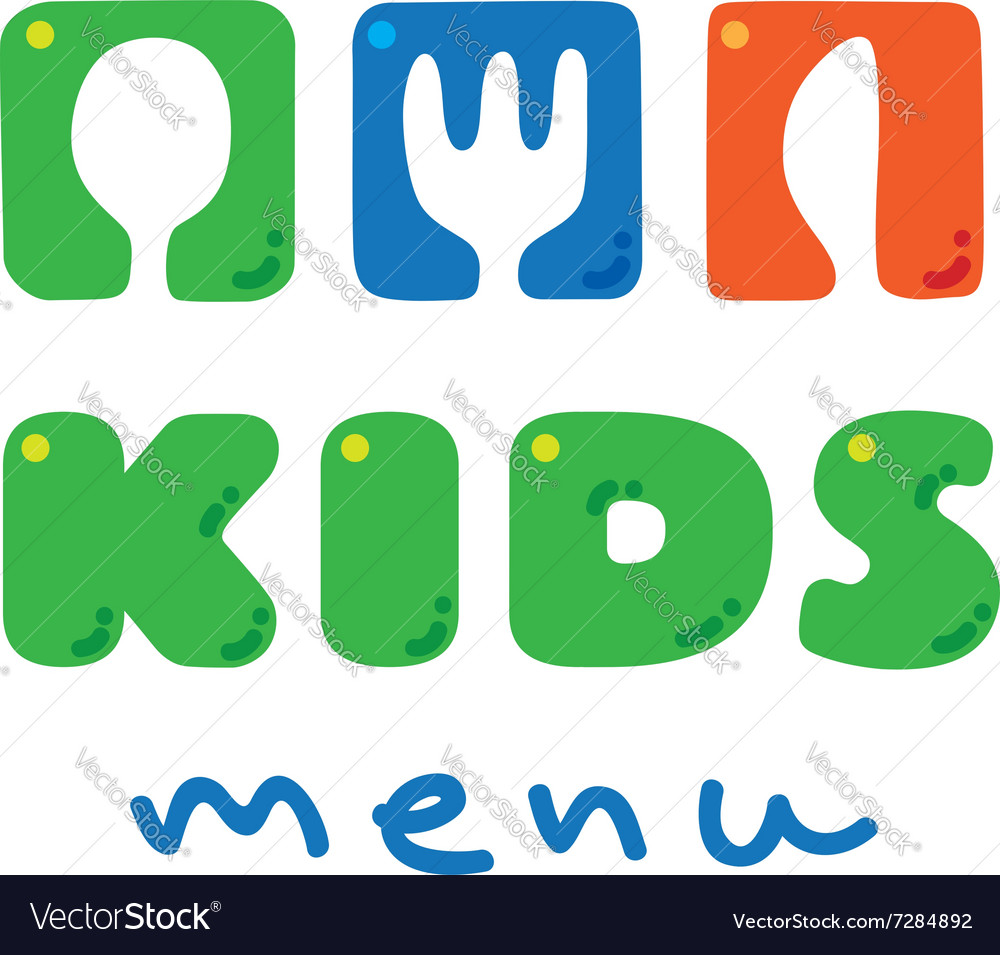 Kids Menu logo with funny spoon fork and knife