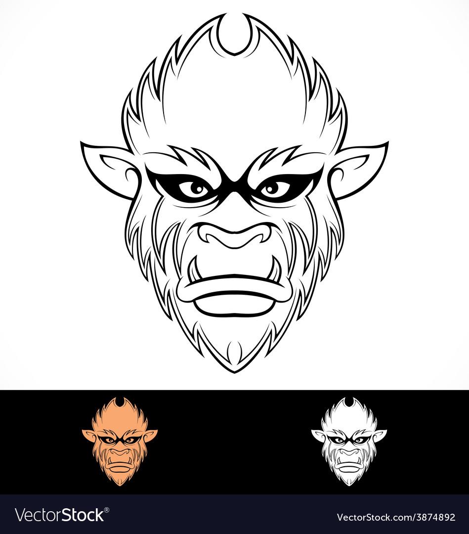 Monkey Head Tribal vector image