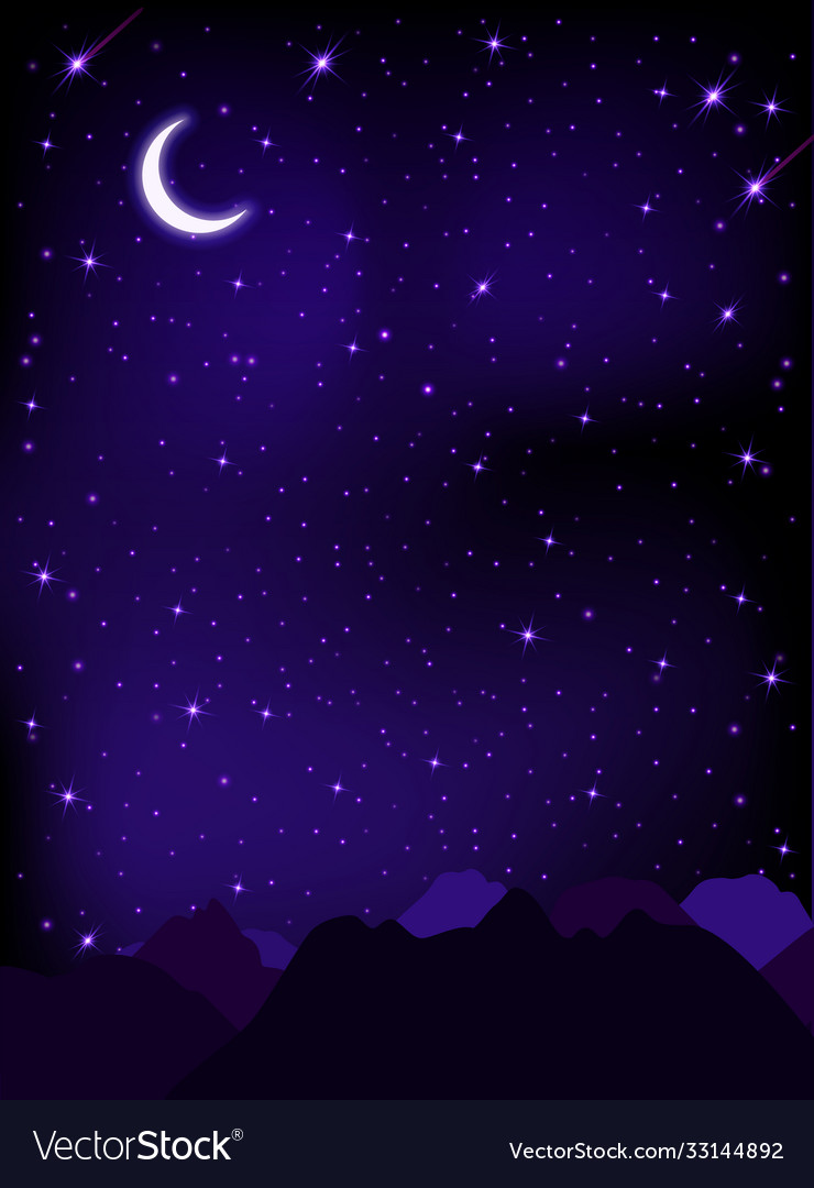 Night starry sky with stars moon and mountains