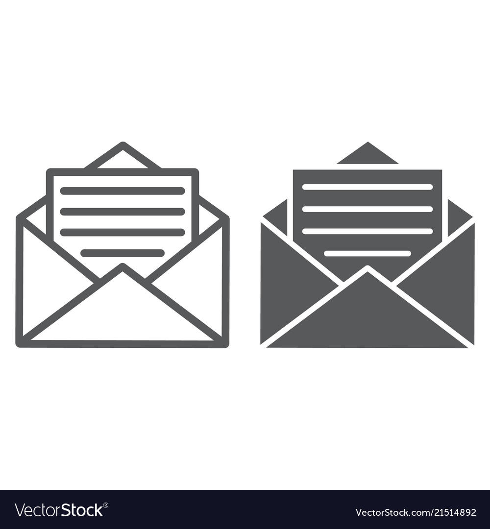 Open mail line and glyph icon envelope and letter