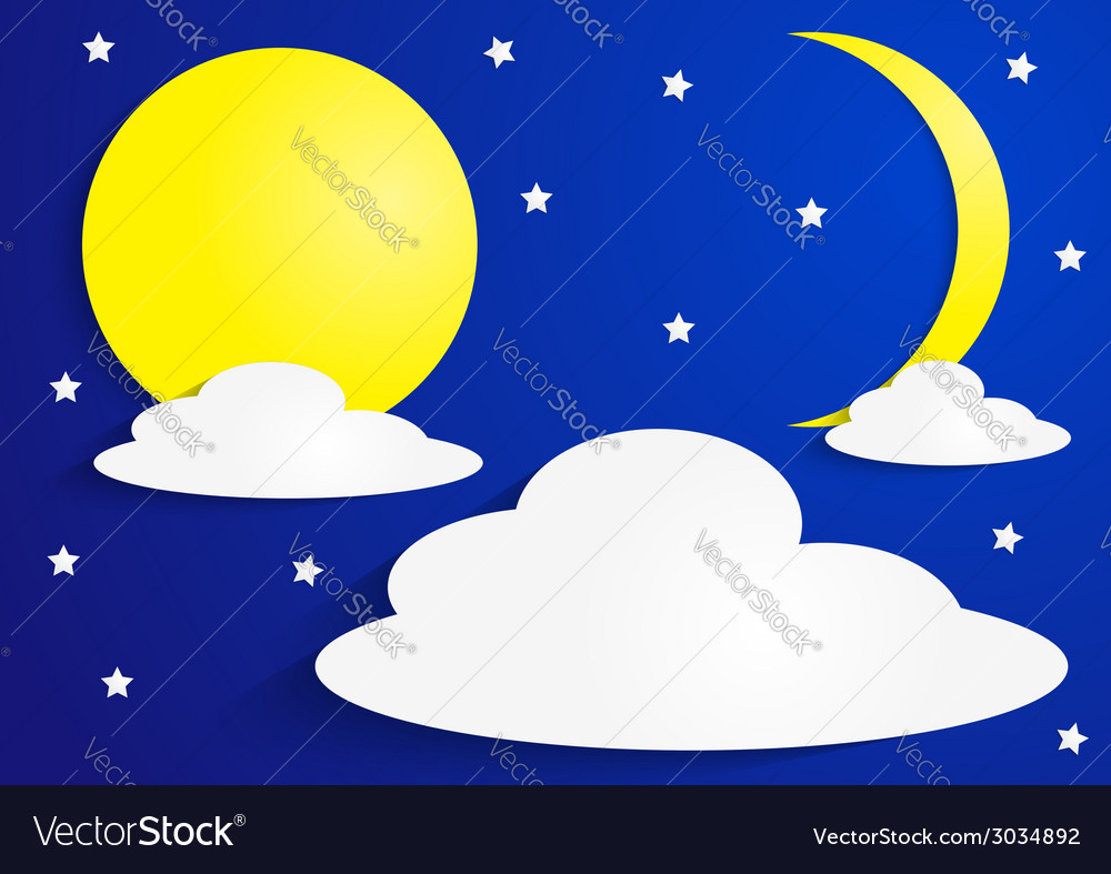 Paper full moon and crescent moon with clouds vector image