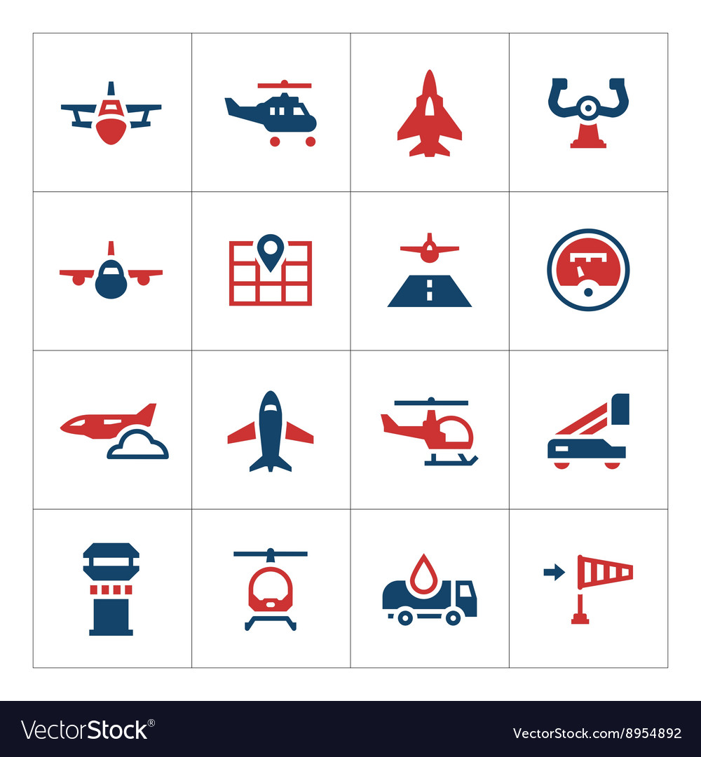 Set color icons of aviation vector image