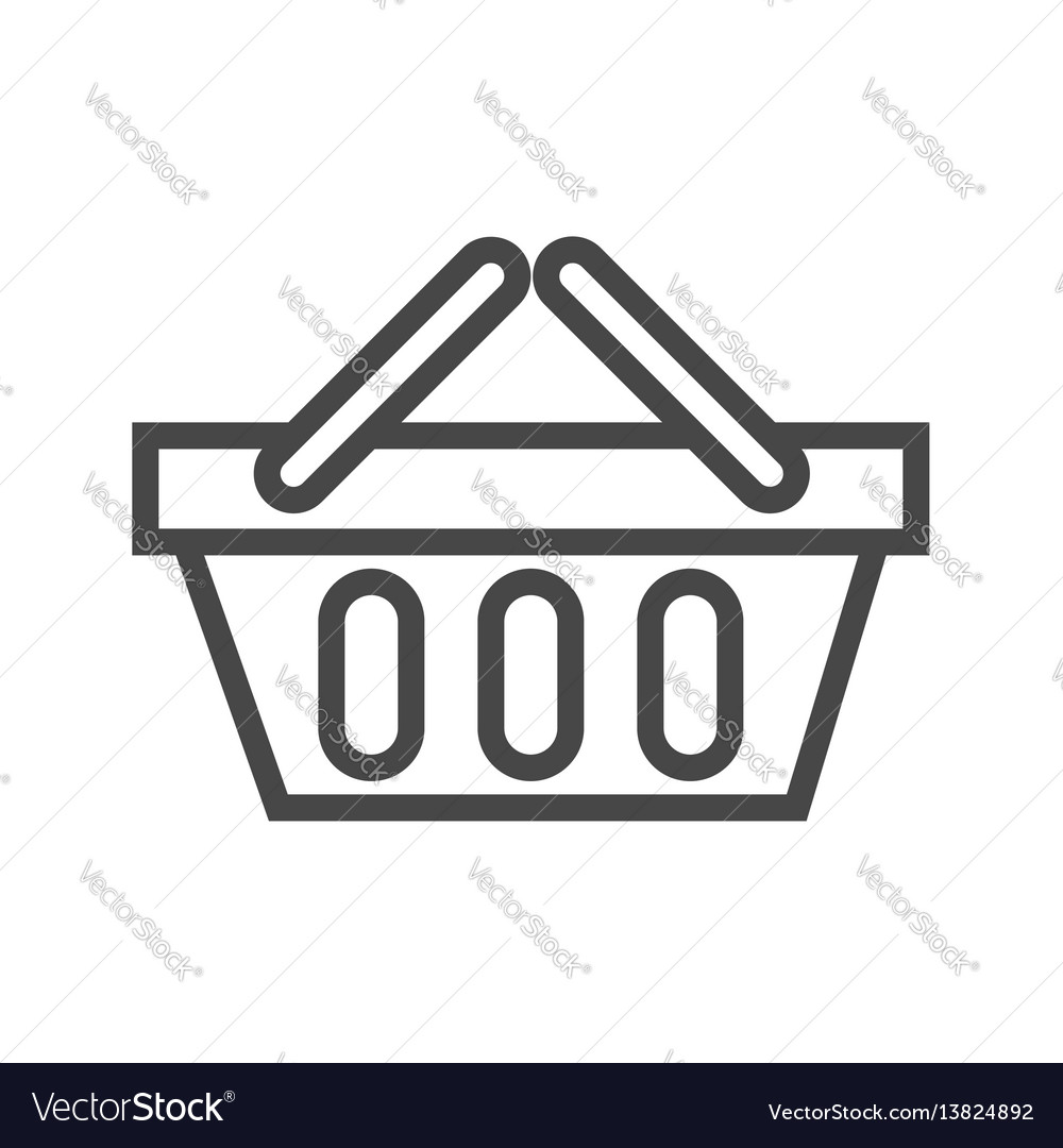 Shopping basket thin line icon