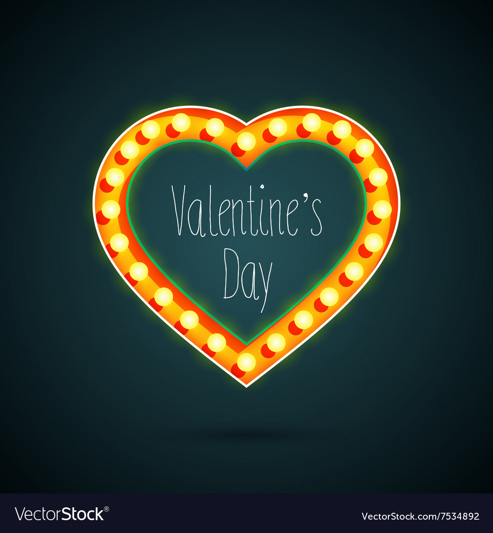 Valentines day heart with light bulbs vector image