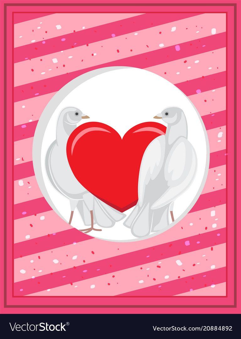 White pigeons and red heart on poscard template