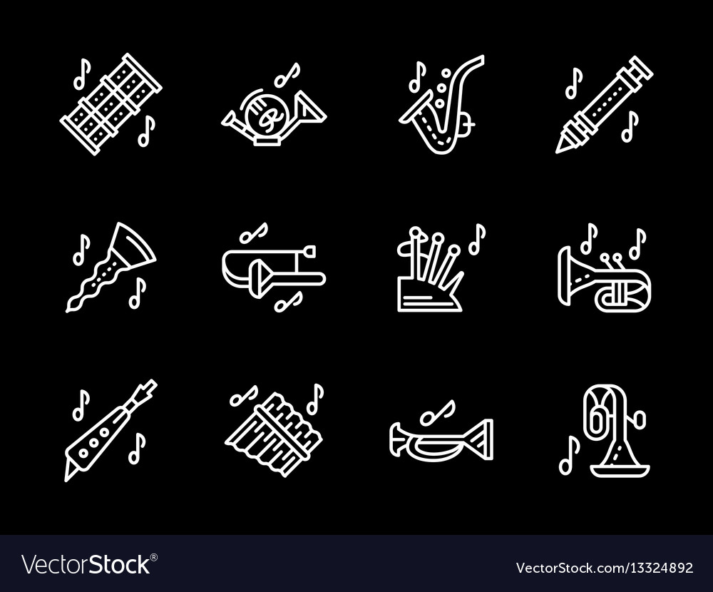 Woodwind music tune white simple line icons vector image