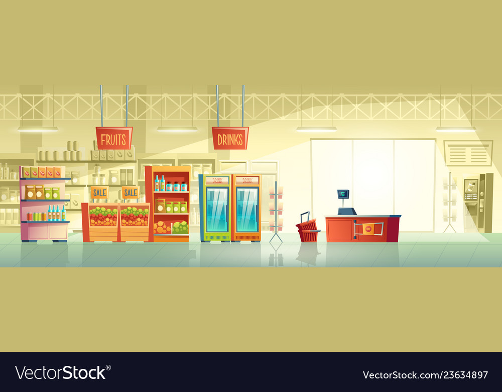 Background of empty supermarket shop