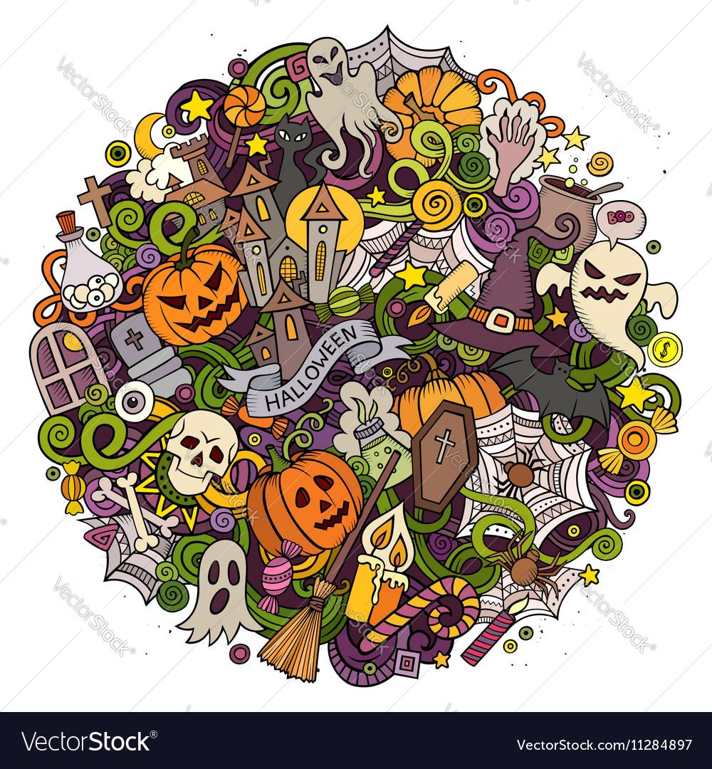 Cartoon hand drawn doodle halloween circle