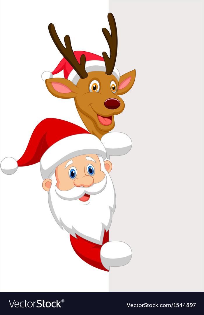 cartoon santa and red nose reindeer royalty free vector vectorstock