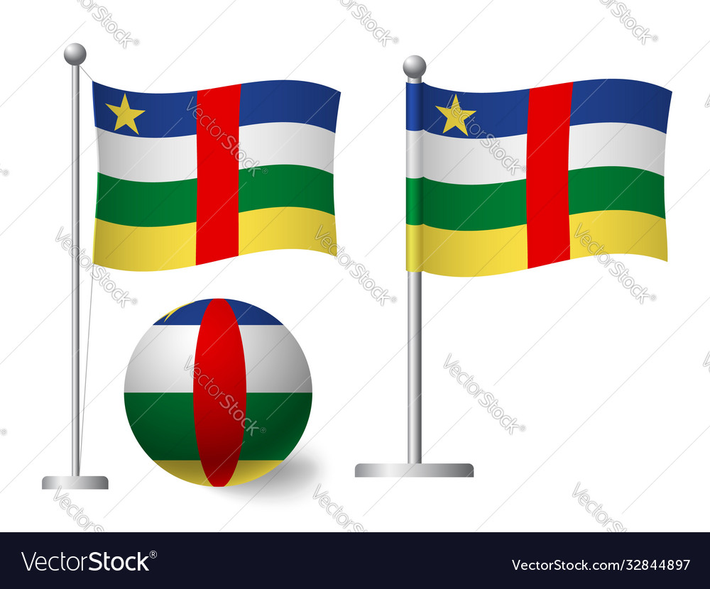 Central african republic flag on pole and ball