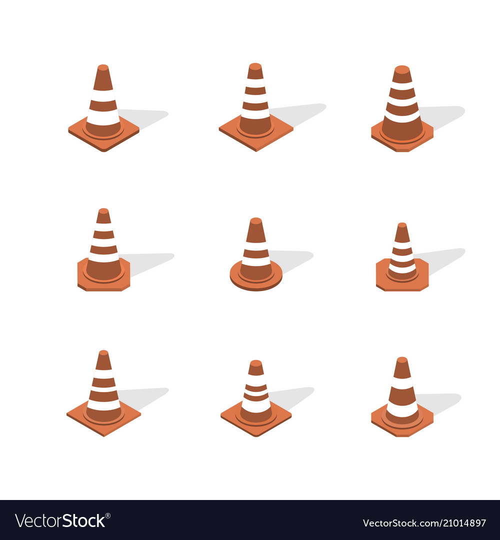 Cone sign road repair in 3d isometric style