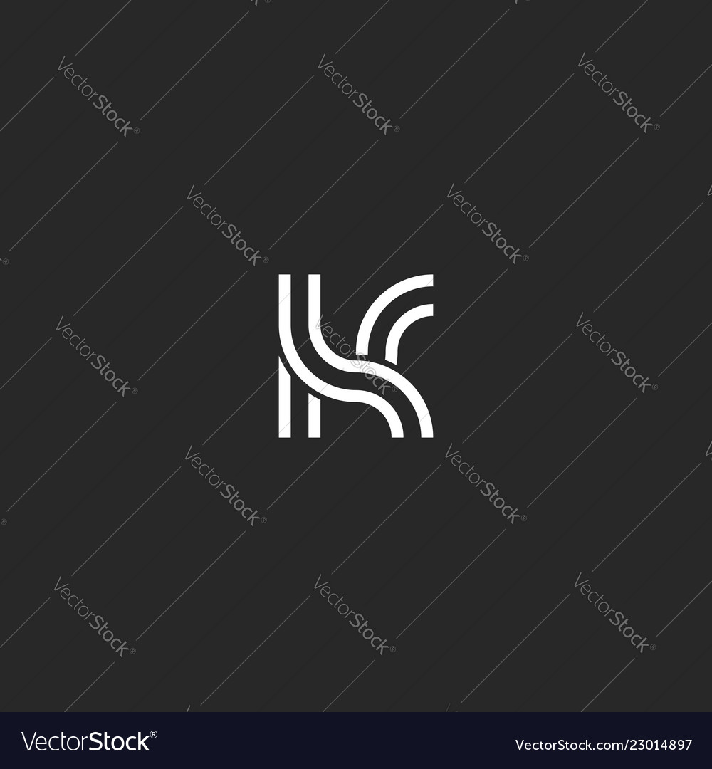 Creative Design Monogram K Logo Letter Linear Art