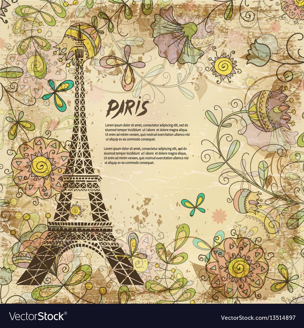 Eiffel tower paris background vintage