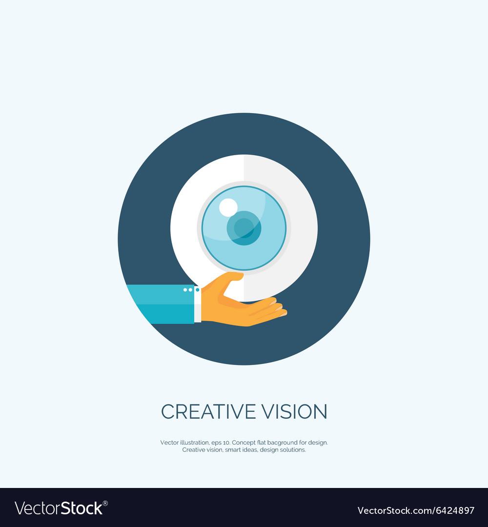Flat eye and hand Creative