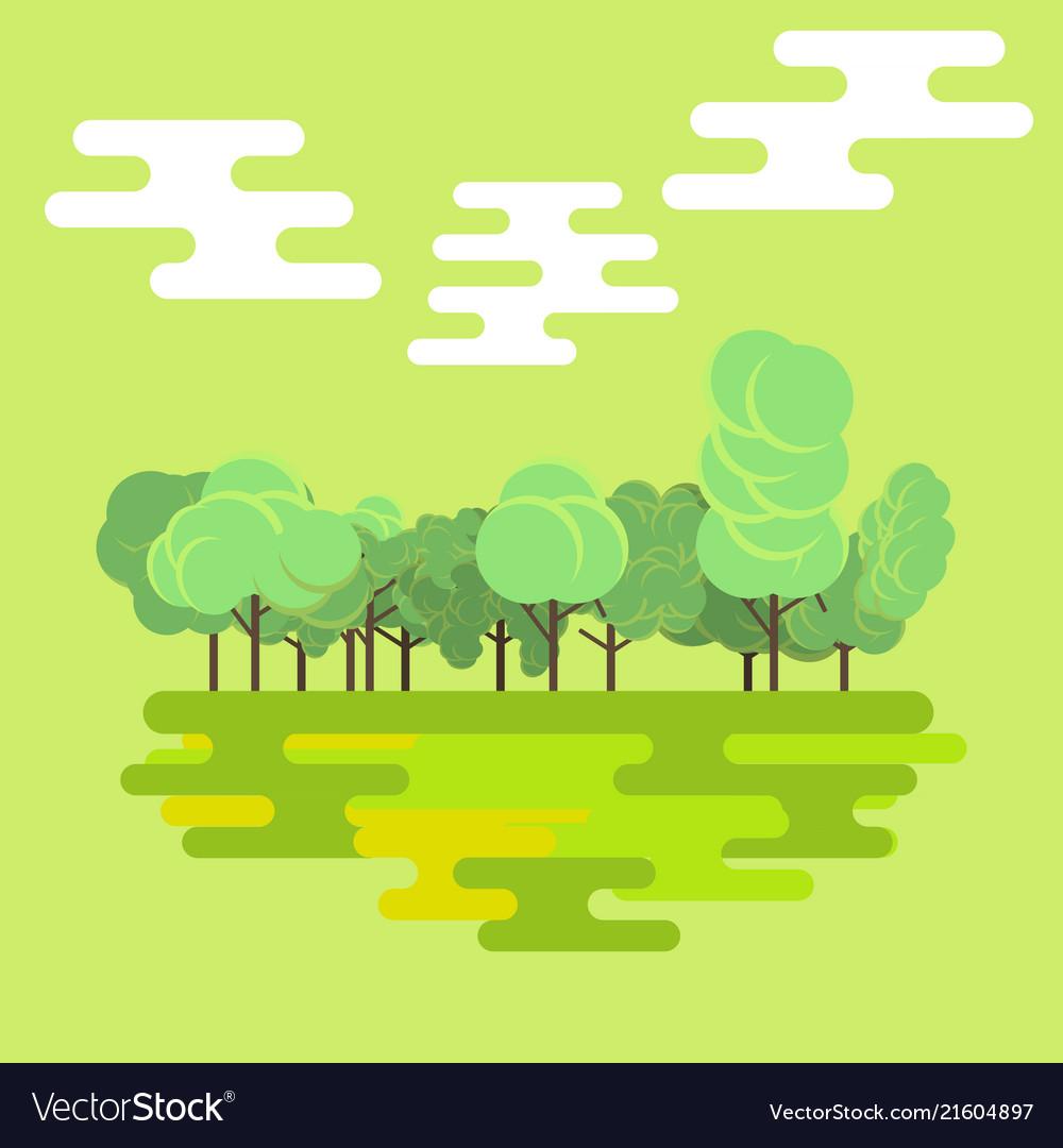 Flat forest green nature landscape background