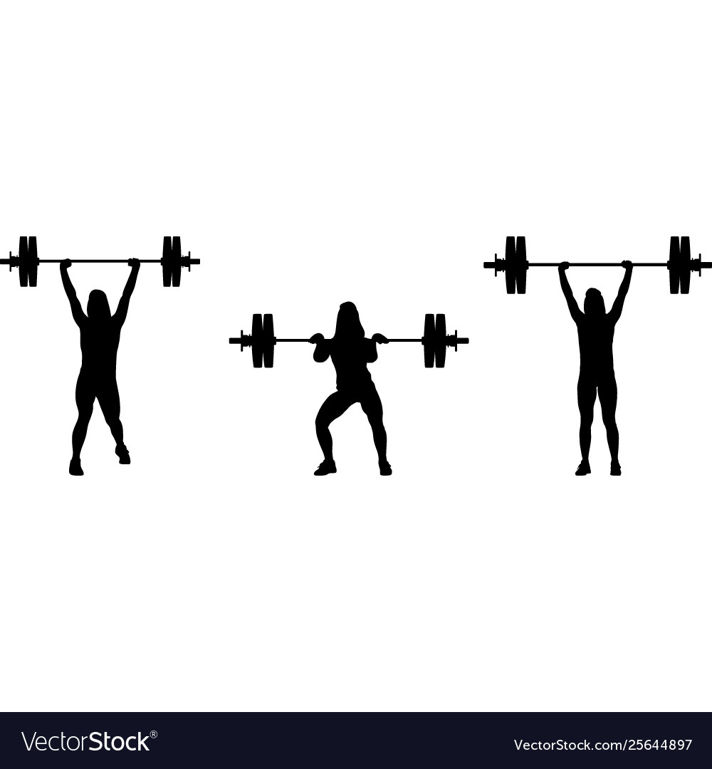 Girl in three different poses weight lifting girl