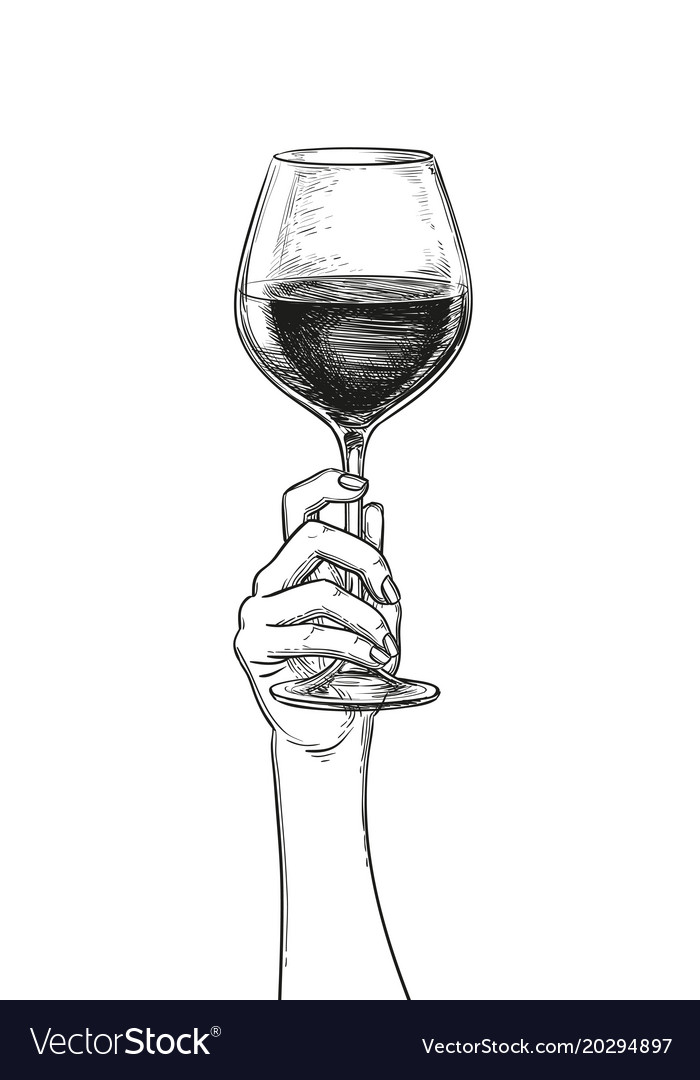 Hand Holding A Glass Of Wine Royalty Free Vector Image