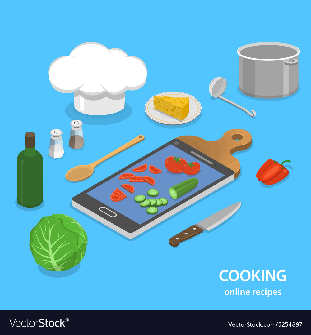 Online recipes flat isometric concept