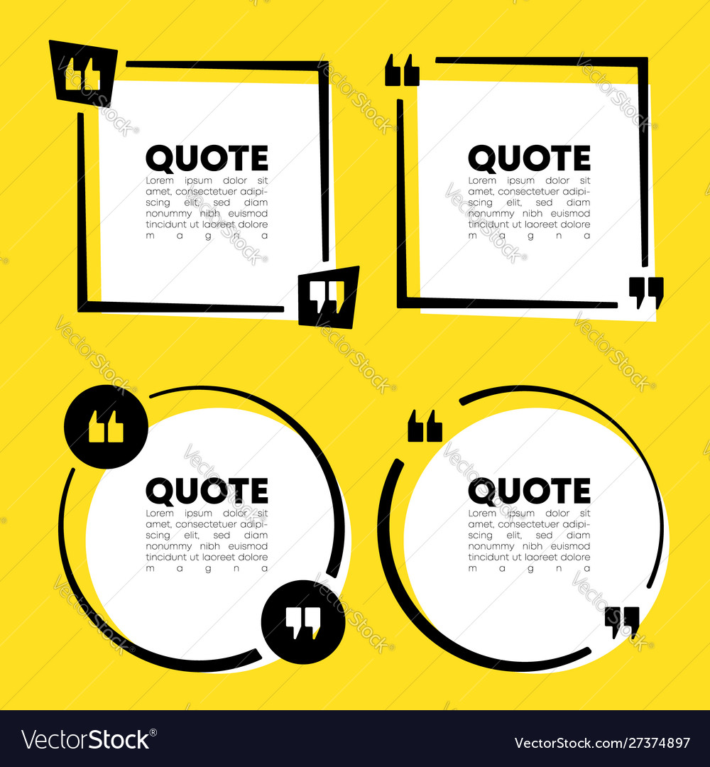 Quote speech bubble template set quotes form and