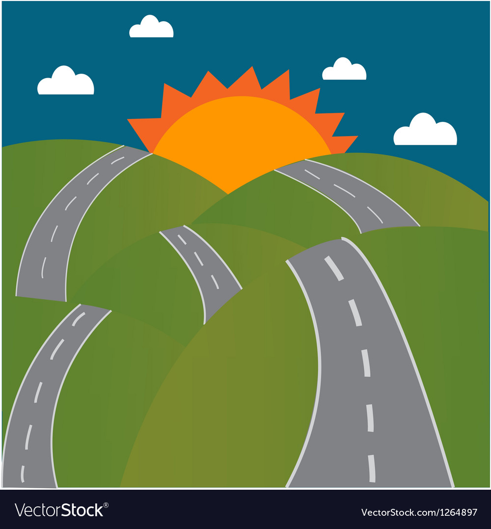 Road to the sun on mountain vector image