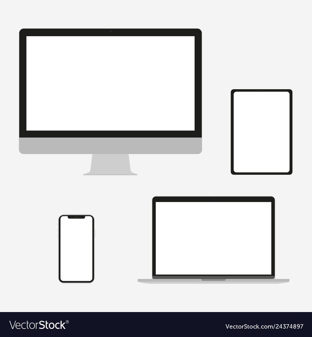 Set of electronic devices in a flat style style