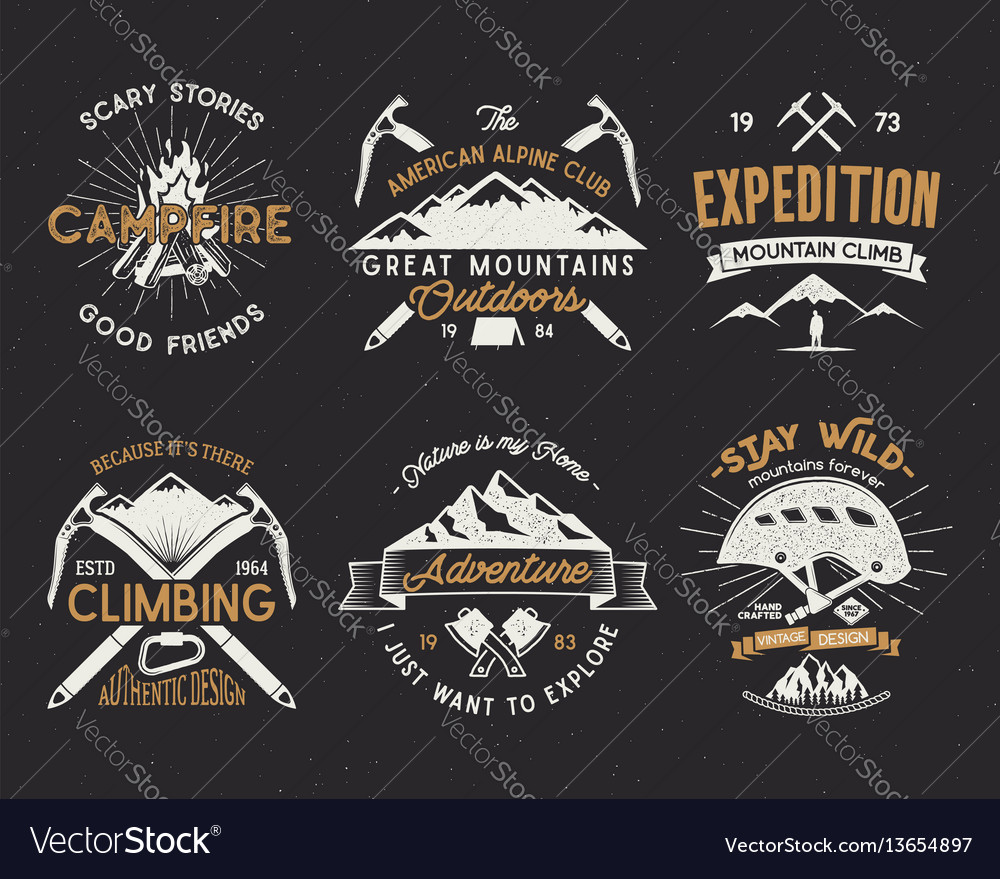 Set of mountain climbing labels mountains