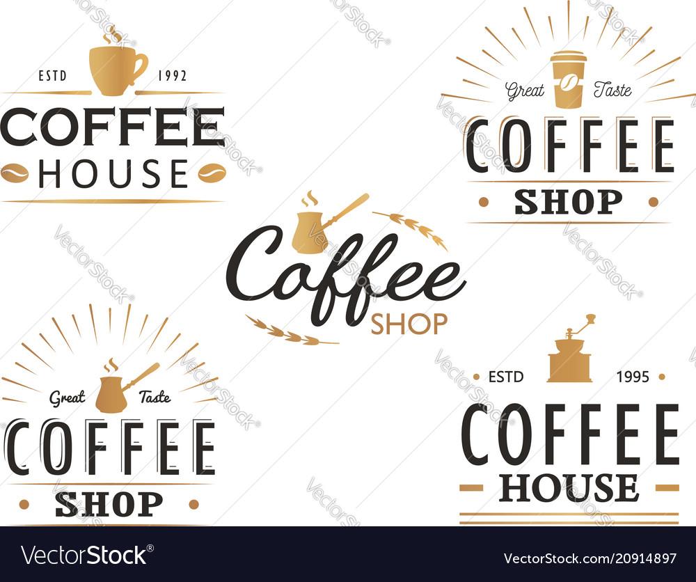 Set of vintage coffee logo templates