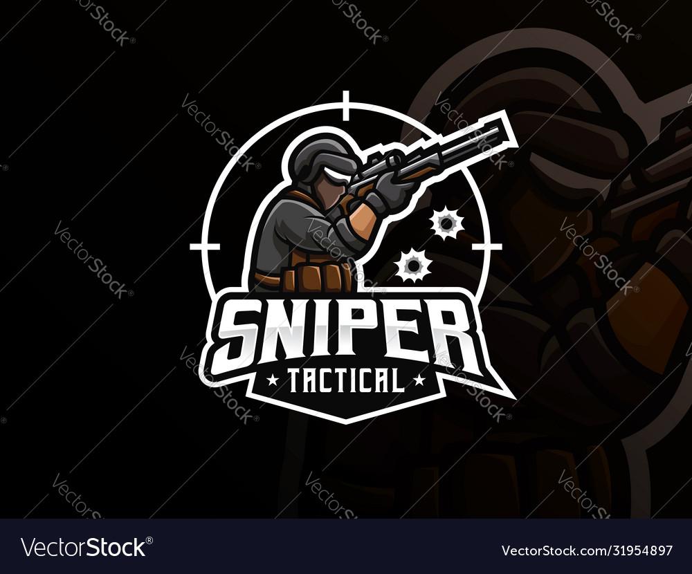 Sniper mascot sport logo design