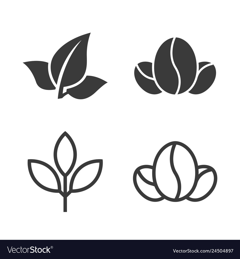 Tea leaves and coffee beans icons