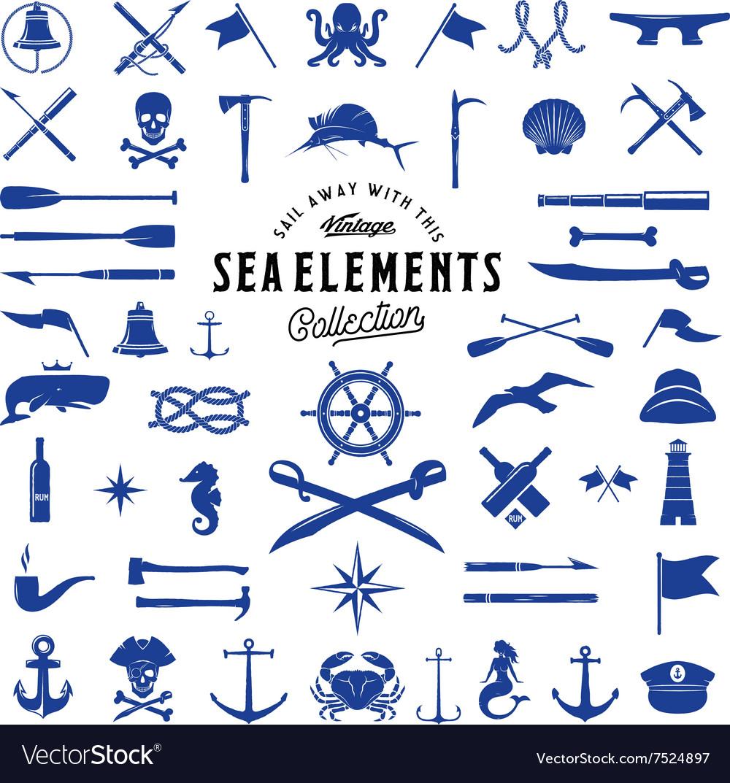Vintage Sea or Nautical Icon Elements Set