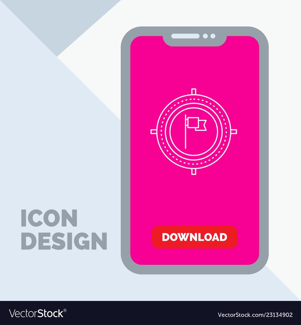 Aim business deadline flag focus line icon in