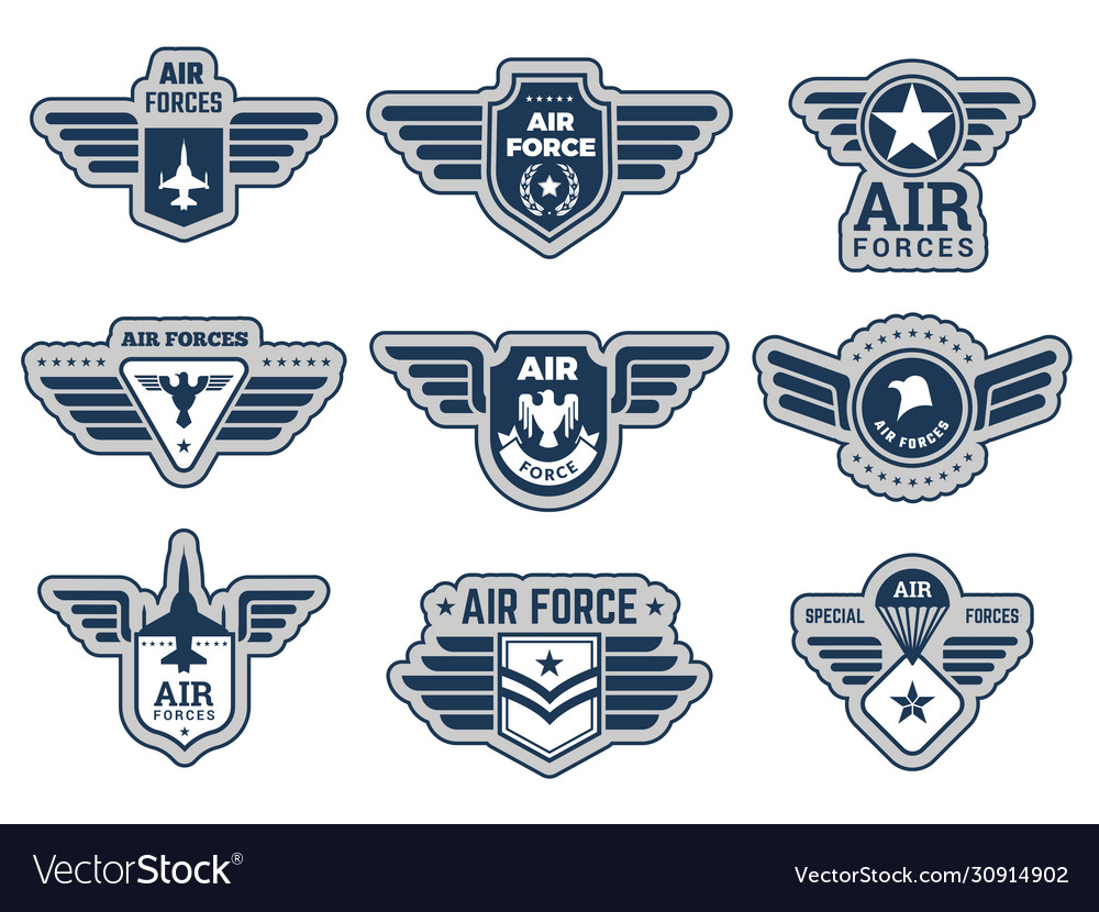 Air force labels vintage army badges military