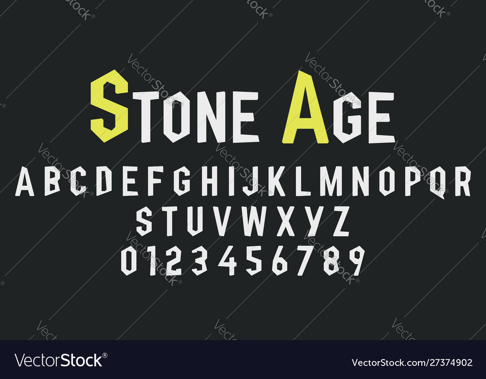 Alphabet letters and numbers stone design