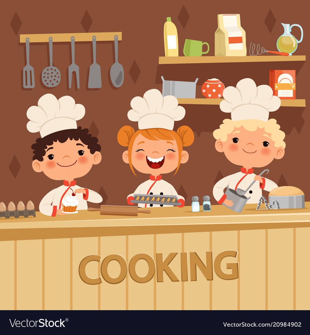 Background of kids preparing food on