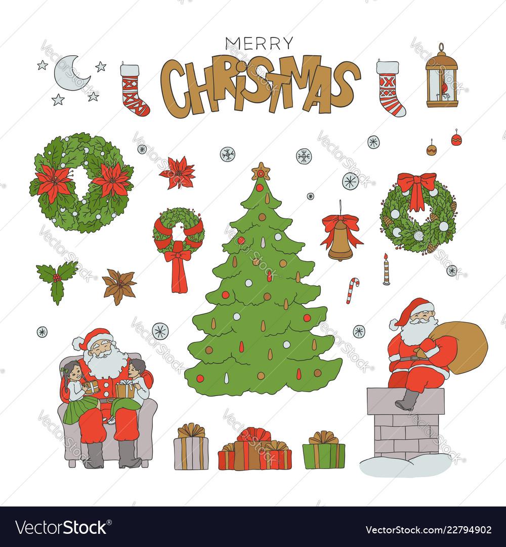 Christmas sketch set santa claus holiday symbols Vector Image