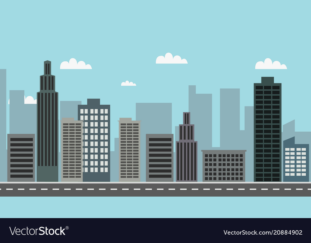 Cityscape with sky background