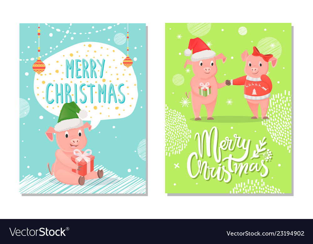 Greeting card merry christmas with piggy