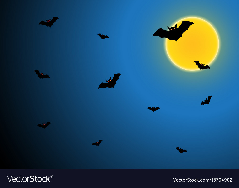 Halloween bat fly with moon and sky