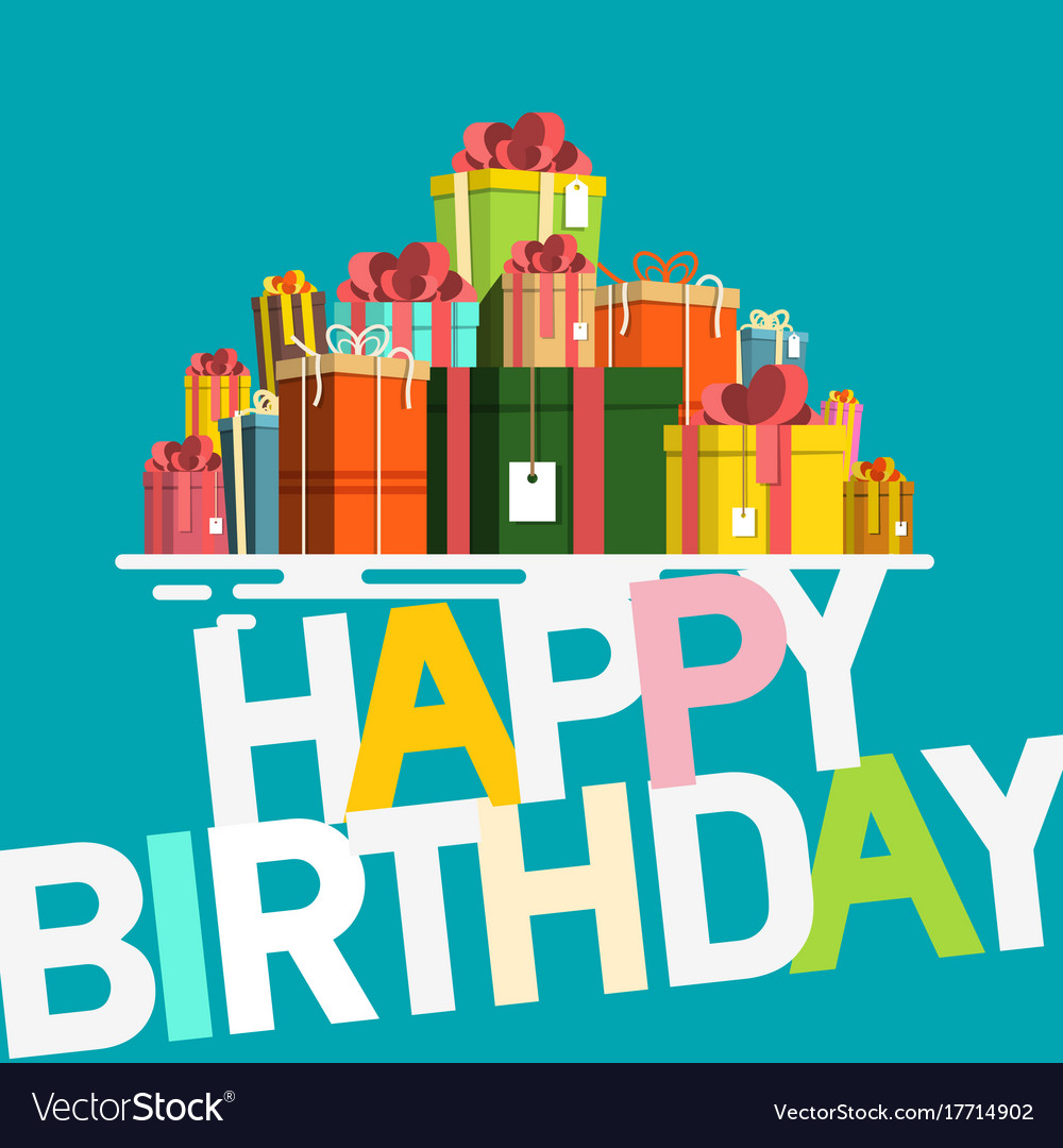 Happy birthday card with gift boxes retro flat vector image