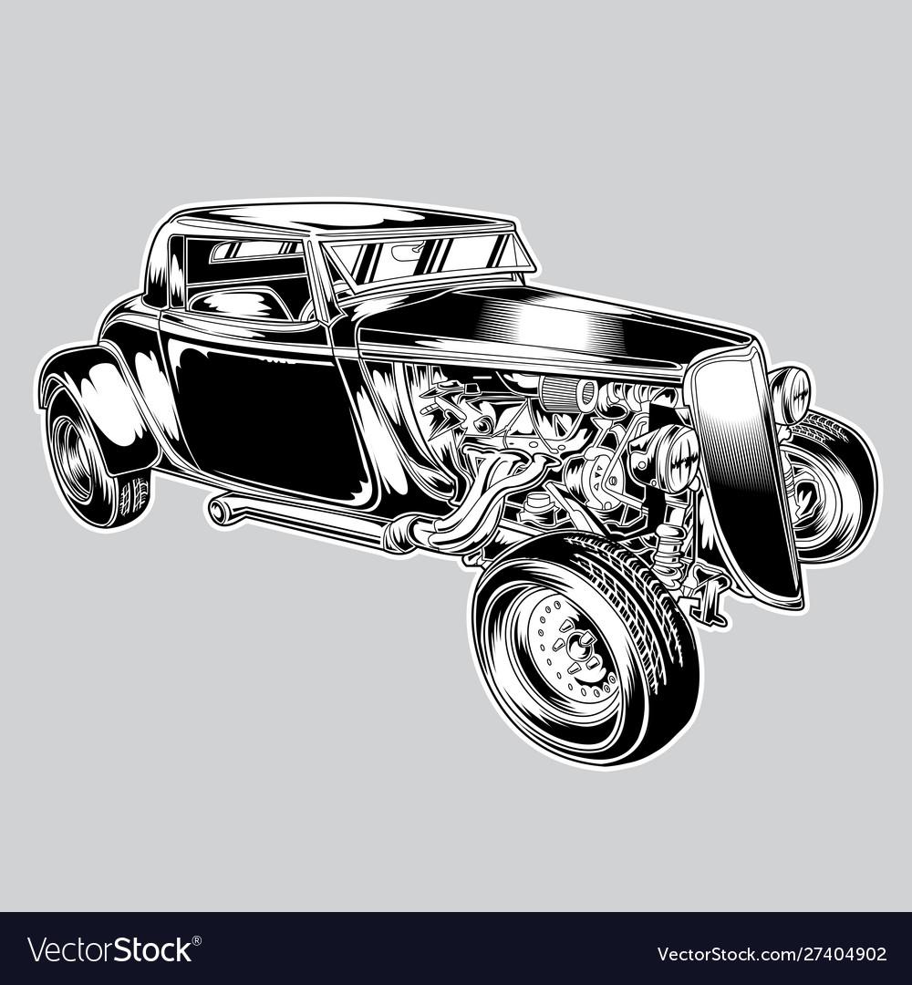 Hotrod car classic balck vintage eps