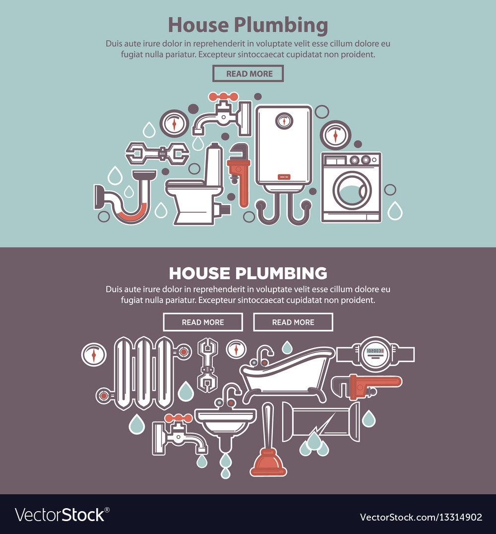 House plumbing web poster with tubes and bath Vector Image