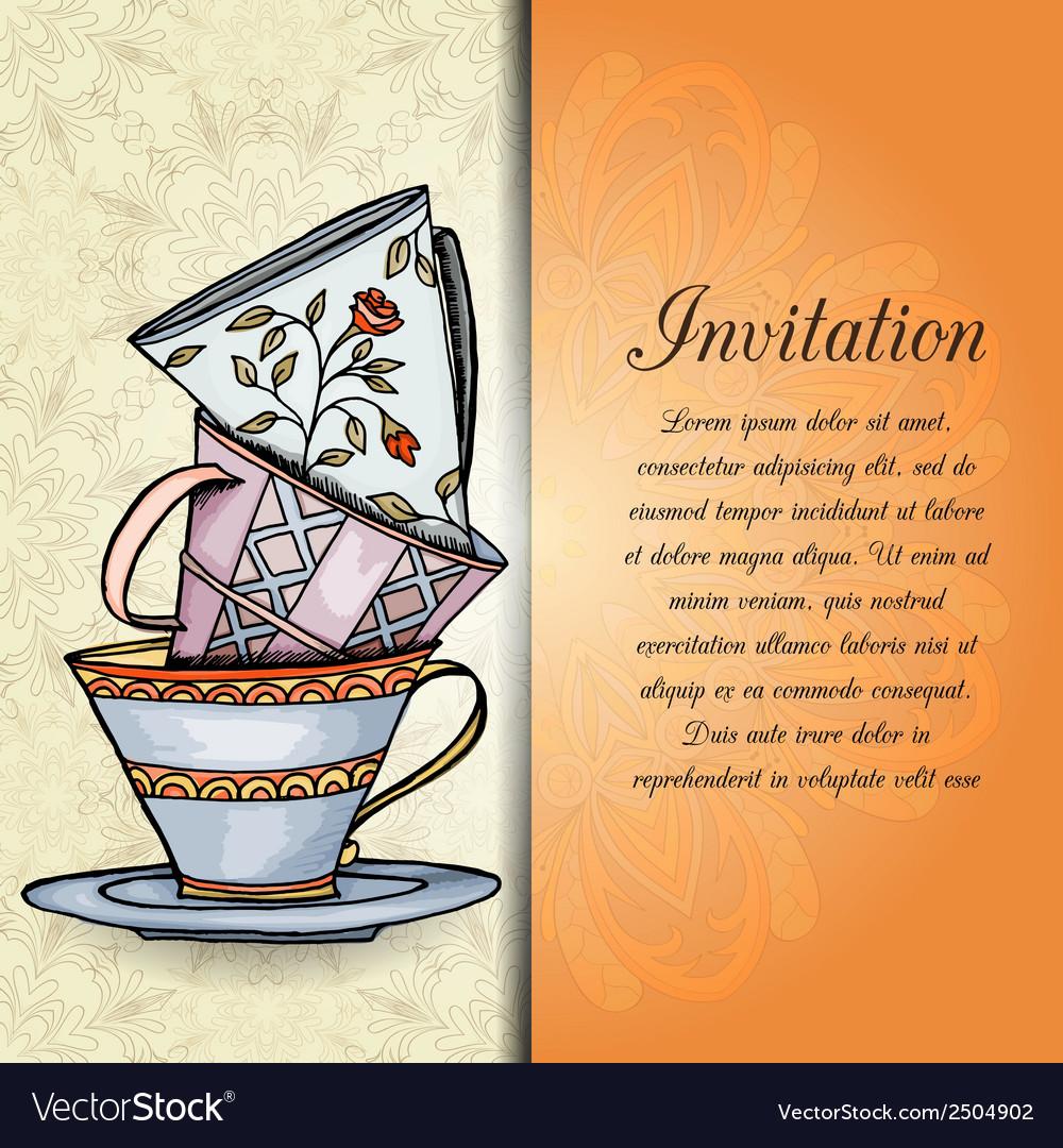 Invitation retro hand drawn design card vector image