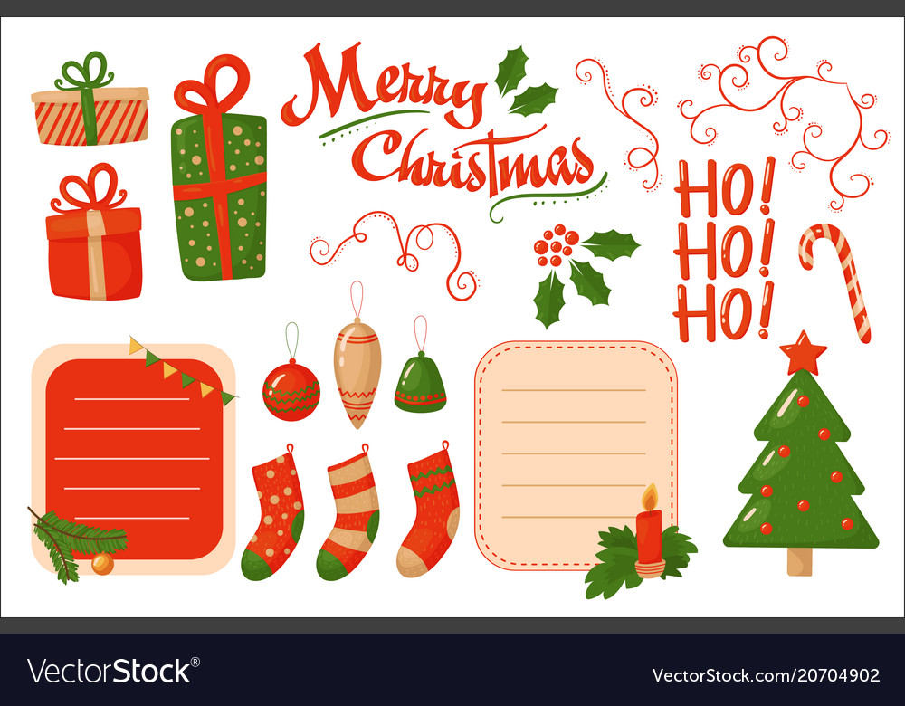 Merry christmas card holiday decoration elements