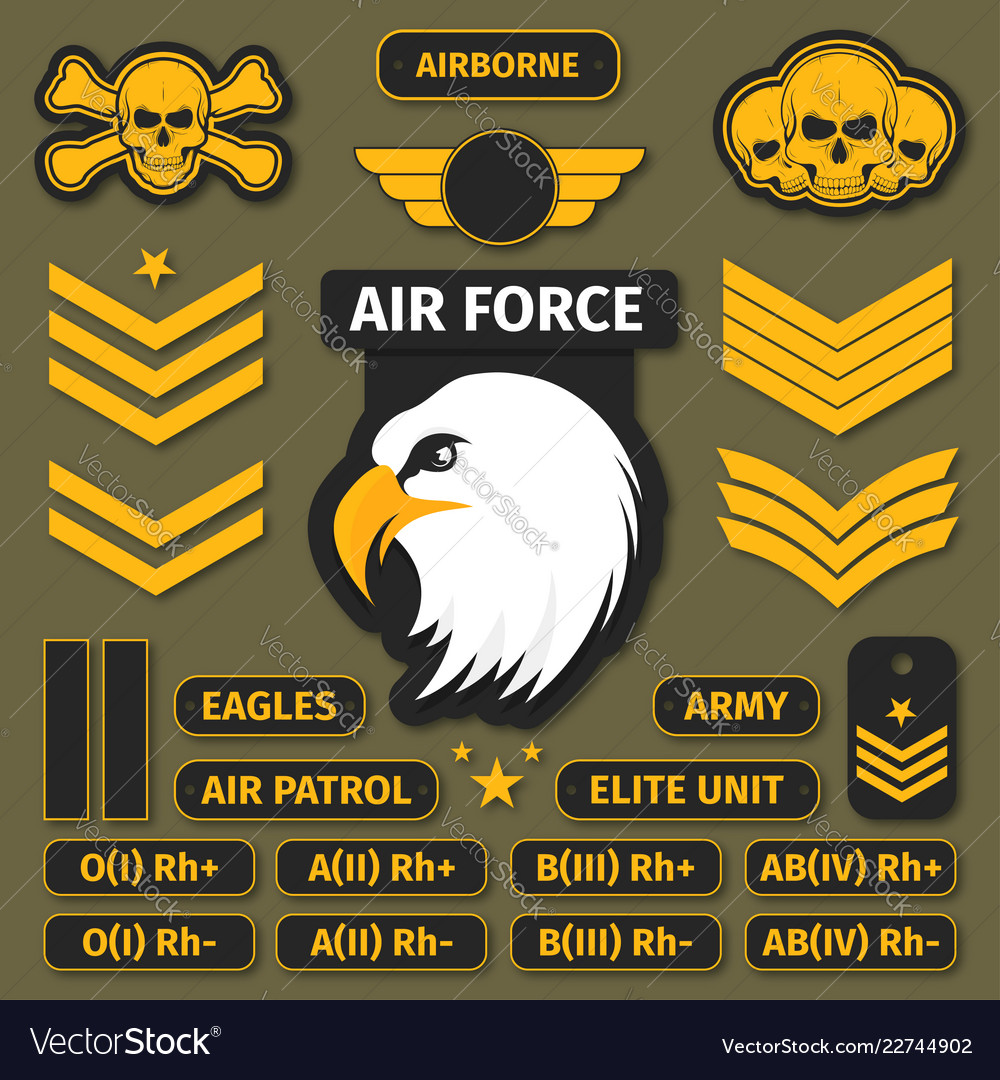 Military badges and army patches chevrons vector