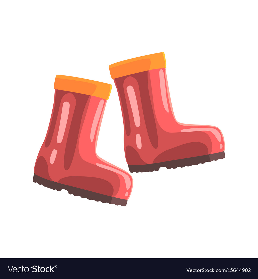 Pair of red rubber boots cartoon