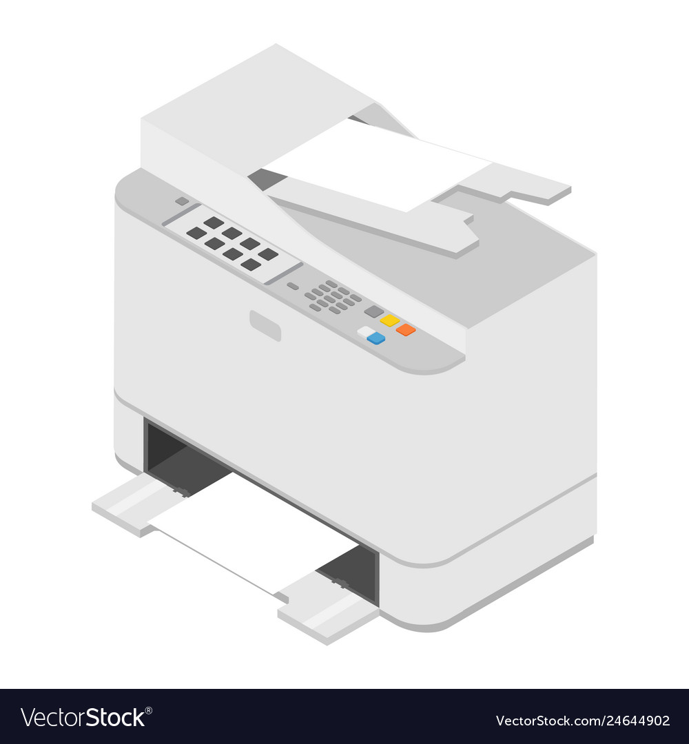 Realistic isometric printer print high quality