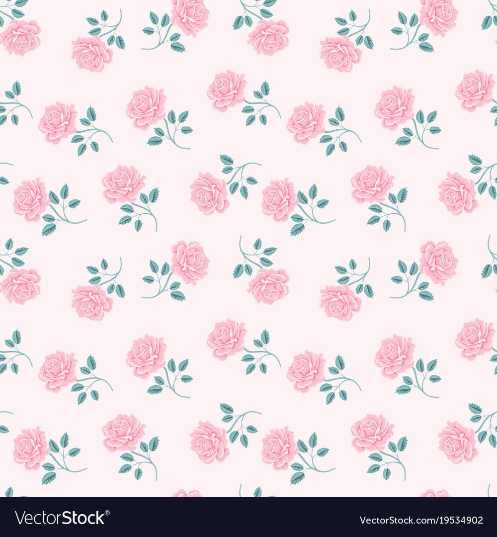 Seamless Roses Pattern Vintage Floral Background Vector Image