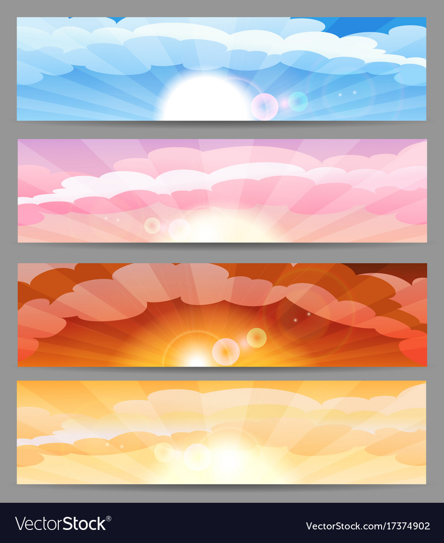 Sky with sun and clouds banner set